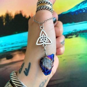 Celtic knot triquetra blue druzy quartz necklace